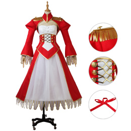 Servant Red Saber Costume Fate/EXTRA Last Encore Cosplay Red Saber Outfits