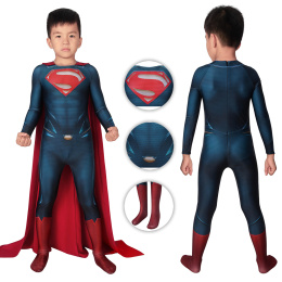 Superman Costume Man of Steel Cosplay Clark Kent Full Set Outfit For Kids