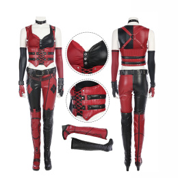Harley Quinn Costume Batman: Arkham City Cosplay Red Sexy Women Outfit Full Set