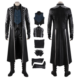 Vergil Costume Devil May Cry 5 Cosplay Fahion Man Black Full Set