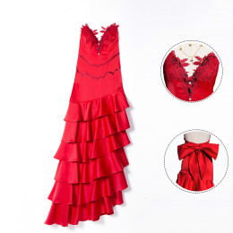 Aerith Gainsborough Costume Final Fantasy VII Remake Cosplay Red Dress