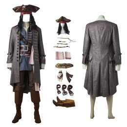 Captain Costume Pirates of The Caribbean: Dead Men Tell No Tales Cosplay Jack Sparrow Full Set