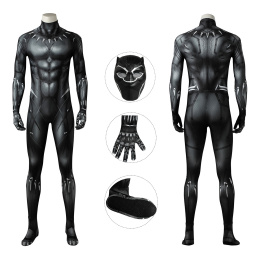 T'Challa Costume Black Panther Cosplay Black Jumpsuit