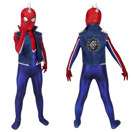 Spider-Punk Costume Mar-vel's Spider-Man (PS4) Cosplay Full Set Suit For Kids