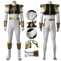 White Ranger Costume Tyranno Ranger Cosplay Tommy Oliver Full Set For Halloween