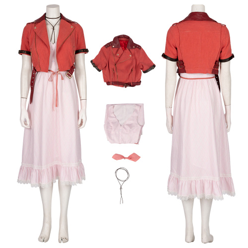 Aerith Costume Final Fantasy VII Remake Cosplay Women's Party Dress Full Set
