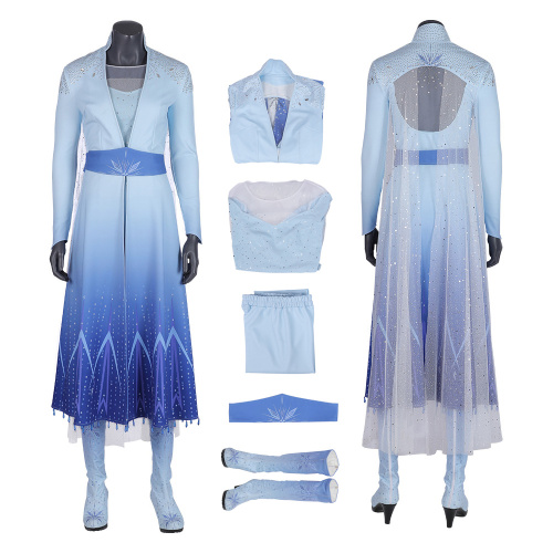 Elsa Costume Frozen 2 Cosplay Woman Fashion Dress Full Set