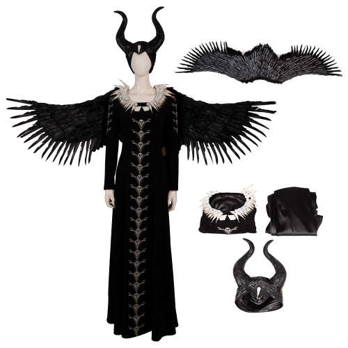 Evil Witch Costume Maleficent Cosplay Maleficent With Headwear Black Long Dress
