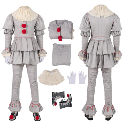 The Dancing Clown Costume 2019 IT: Chapter Two Cosplay Pennywise Full Set White Version