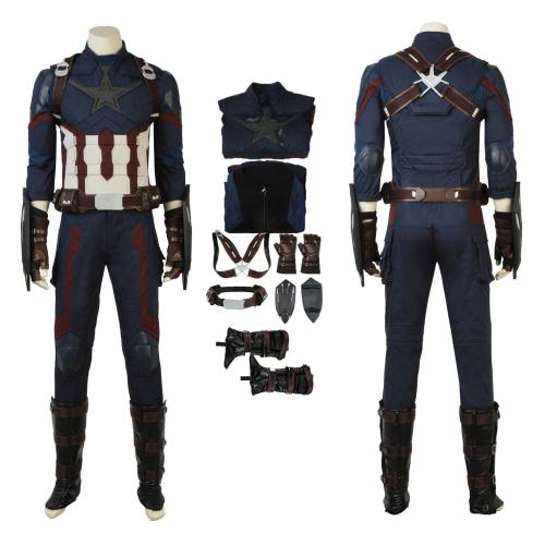 Captain America Costume Avengers: Infinity War Cosplay Steve Rogers Deluxe Version Full Set