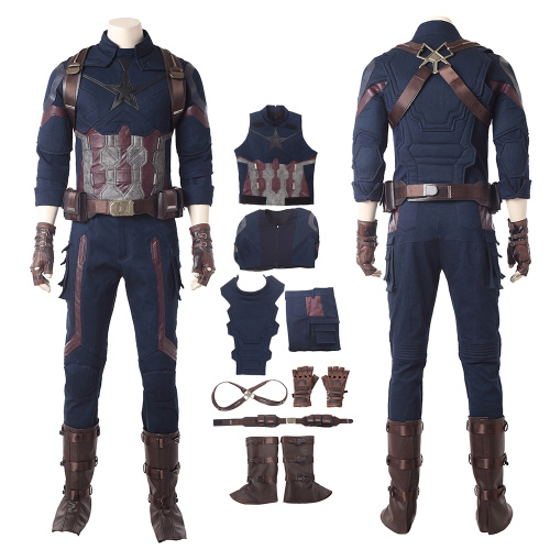 Captain America Costume Avengers Infinity War Cosplay Steve Rogers Full Set Deluxe Outfit