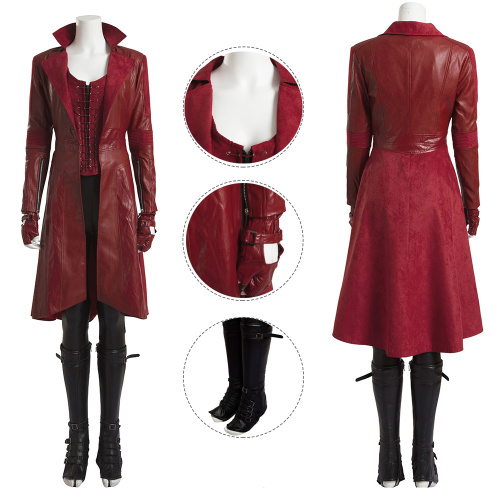 Scarlet Witch Costume Captain America: Civil War Cosplay Wanda Maximoff Full Set Red Women Leather Coat