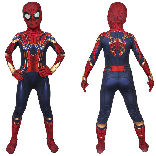 Iron Spiderman Costume Avengers: Endgame Cosplay Peter Parker Jumpsuit For Kids