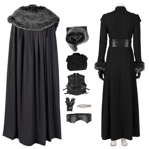 Sansa Stark Costume Game of Thrones 8 Cosplay Deluxe Version Black Outfit