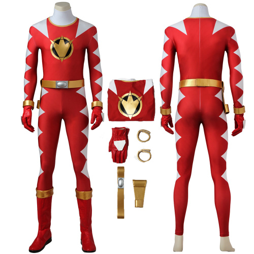 Red Ranger Costume Power Rangers Dino Thunder Cosplay Ryouga Full Set